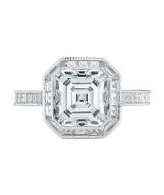 Asscher Cut Engagement Rings | From asscher to round, take a peek at the elegant options for engagement rings.