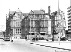 Black and white photograph showing the Gamble Institute, St.Helens MCL - Clare Collection 2 - Black and white photographs showing Victoria Square, St. St Helens Town, Saint Helens, Family Album, My Town, Childhood Memories, England, Victoria, Community, Black And White