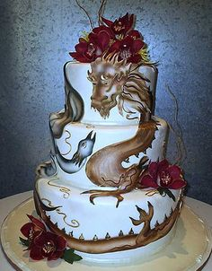 Three tier, hand painted chinese dragon cake/phoenix wedding cake ...