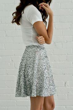 Sequin Circle Skirt - Silver | Bree Lena Custom Clothing