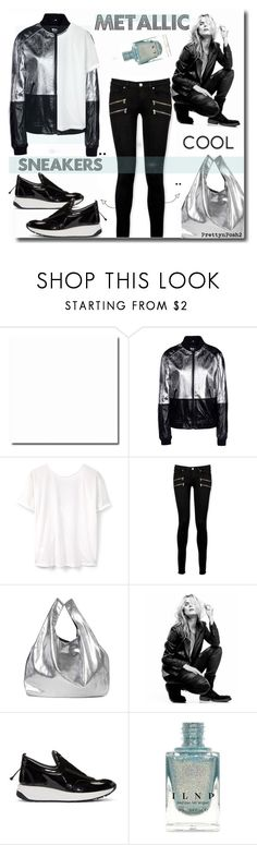 """METaLLIC & SNEaKERS!"" by prettynposh2 ❤ liked on Polyvore featuring George J. Love, MANGO, Paige Denim, Maison Margiela, Superfine, men's fashion, menswear, trending and bomber"