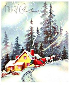 Vintage Christmas Card Merry Christmas by CassiesTaleVintage by dianne Old Time Christmas, Christmas Card Images, Vintage Christmas Images, Merry Christmas Card, Christmas Night, Old Fashioned Christmas, Christmas Past, Retro Christmas, Vintage Holiday