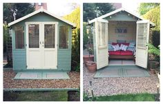 Beach Hut themed summerhouse | 15 ideas for decorating a summerhouse #ladyshed | Summerhouse interiors