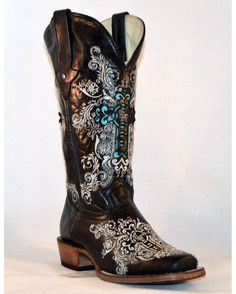 We have custom designed and teamed up with Dusty Rocker Boots to give you one of a kind boots!!  The best part about these boots is that they feature INTERCHANGEABLE INLAYS so that you can change the color of the cross to match your outfits! Black comes with a Turquoise inlay. Want more colors!? Find them on the Nothing But Rodeo brand page!
