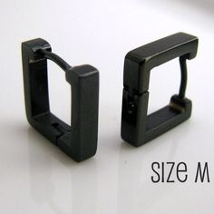 Mens Earrings Black Square Huggie Hoop - Ear Cartilage Piercing - For Guys Corp Cyber Gothic Punk Rocker - Stainless Steel - Medium no.211