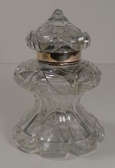 Top Notch Large Antique English Cut Crystal Inkwell c.1880
