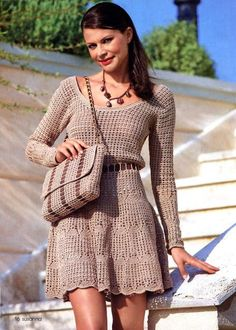 Crochet Dress with Pattern - looks simply and beautiful, love color