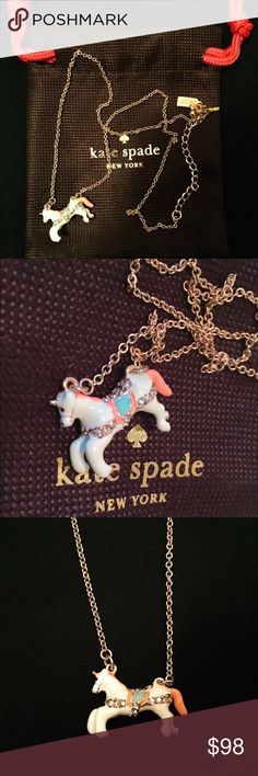 """Authentic Kate Spade unicorn  necklace Authentic Kate Spade ♠️ unicorn  necklace. New in bag, never been worn. Super cute ceramic unicorn on a 12K gold plated chain. Adjustable extra chain at the end of the chain. There is an authentic KS tag and♠️ next to the lobster clasp. Total length: 17"""" + 3"""" extension. Pendant: 1"""" x 0.7"""". PRICE FIRM unless bundled. Feel free to ask any questions if you have. Thanks  kate spade Jewelry Necklaces"""