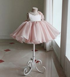 Bow Shoulder Dress--Made To Order - High Quality Round Neckline Pearl & Crystal Rhinestone Applique Sleeveless Big Bow Back Little Girl Party Dress - Perfect dress for your little flower girl, birthday or any occasion. This dress is available from 3 month until 12 years old  Color: Light Pink. Material: Cotton, tulle mesh, soft polyester fiber. Please do compare your  little girl measurements with our size chart below or you may leave a note your little girl's height, bust and waist…