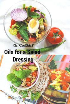 The Healthiest Oils for a Salad Dressing  #SALAD #HEALTHYFOOD  W przypadku sałatek możemy zaszaleć. Tutaj najlepiej sprawdzą się oleje bogate  w omega 3 jak: olej lniany(50% zawartości omega 3), olej rydzowy (czyli olej z nasion lnianki siewnej) (40%), olej konopny (18%), olej orzechowy (12%), olej rzepakowy (8%).