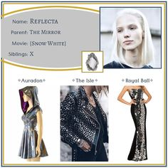 """Descendants OCs on Instagram: """"Reflecta ✧ Daughter of The Magic Mirror •••••••••••••••••••••••••••••••••••••••••••••• Feel free to use this character however you like -…"""" Magic Mirror, Disney Outfits, Descendants, Fairy Tales, Oc, Snow White, Aesthetics, Daughter, Fashion Design"""