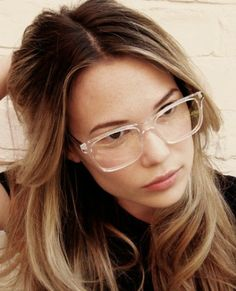 Clear eyeglass frames. Geeky goodness at its most chic! Rome frames by Prism London.