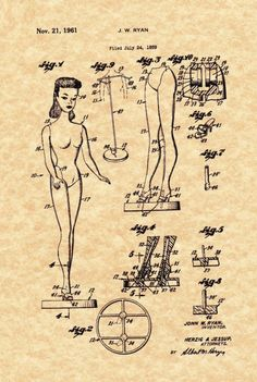 Barbie doll patent drawing