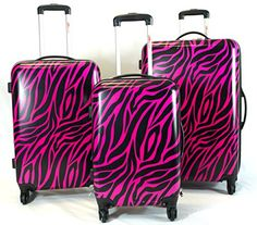 Luggage Sets Collections | 3pc Lightweight Hardside Hard Case Printed Travel PC 4 Wheels Spinner Luggage Set  Safari Animal Zebra Print Black  Fuschia * For more information, visit image link. Note:It is Affiliate Link to Amazon.