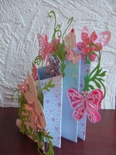 Waterfall / Cascade Card with butterflies and rabbit - 21st birthday - right side. Spellbinders Shapeabilities Floral Flourish