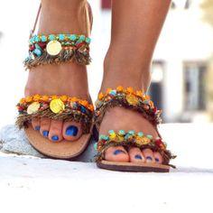 "Earth Colors Sandals, Greek Sandals, ""Ibiza Party"" Summer shoes, barefoot sandals, hippie leather shoes, Boho sandals, oriental sandals"