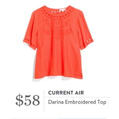 **** STITCH FIX Spring Summer styles!  Just in for your May 2017 fix! Gorgeous orange embroidered bell sleeve top. Wear with skinnies or even dress up for work !  Just click the picture to get started today and custom style your own personal wardrobe with your OWN personal stylist! #StitchFix #sponsored