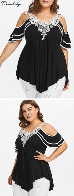 Plus Size Tiered Cold Shoulder T-shirt Mom Outfits, Cute Outfits, Fashion Outfits, Womens Fashion, Curvy Fashion, Plus Size Fashion, Empire Waist Tops, Shoulder Shirts, Dress To Impress
