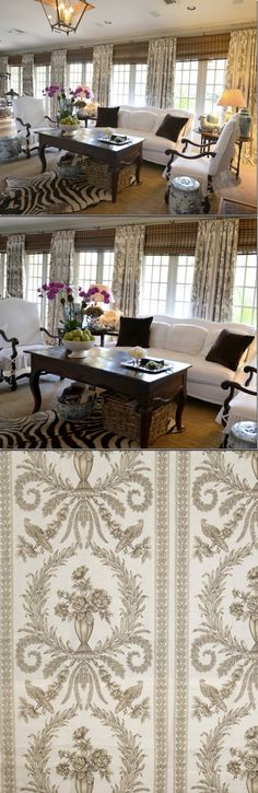 Bank of windows-curtains: brown/gray/white toile from Vervain's linen Doucette in Pewter. www.vervain.com