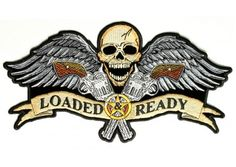 Loaded and ready skull wings guns large patch