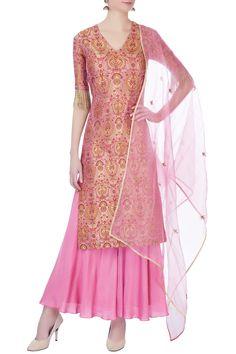 Shop Divya Gupta - Pink brocade handloom kurta set Latest Collection Available at Aza Fashions