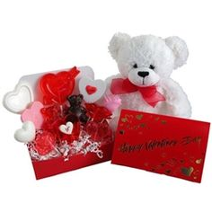 Valentine's Day Candy Bouquet Plush Bear and Lollipops