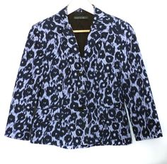 Lafayette 148 NY Duncan Animal Leopard Print Navy Violet Cotton Blazer 6 S $220 #Lafayette148 #BasicJacket