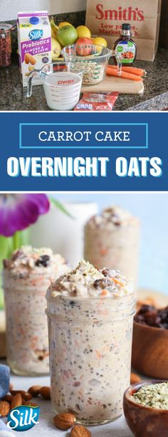Creamy as can be this recipe for Carrot Cake Overnight Oats uses Silk Prebiotics Almond & Cashew Milk to bring the better-for-you benefits into this morning dish. Along with gluten-free rolled oats chia seeds shredded coconuts carrots raisins maple Keto Recipes, Cooking Recipes, Sweets Recipes, Healthy Recipes, Brunch, Buffet, Carrot Cake, Meals For The Week, Breakfast Recipes