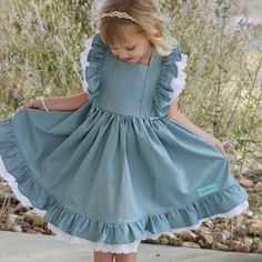 Baby Blue Party Dress - Girl twirl Dress - Blue Pinafore Dress - Girls Special Occasion Dress - Toddler Blue Ruffle Dress -Girls twirl Dress
