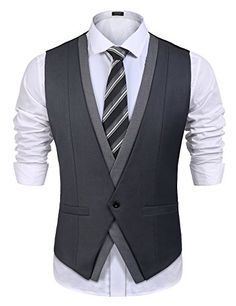 Men's Business Suit Vest Casual Slim Fit Wedding Dress Waistcoat – Black – Clothing, Suits & Sport Coats - Mens Casual Suits, Mens Fashion Suits, Mens Suits, Wedding Vest, Wedding Waistcoats, Wedding Suits, Waistcoat Men Wedding, Casual Wedding, Casual Sport Coats