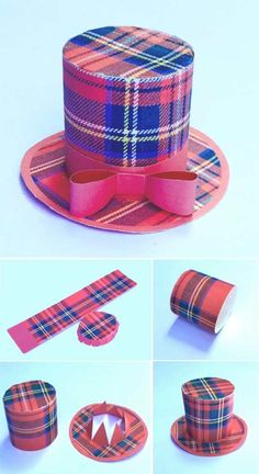Mini tartan top hats instructions - Red tartan party hat colour templates for Burns Night!