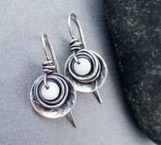 Small White Shell Drop Earrings Hammered Sterling by SeventhWillow