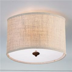 Burlap Drum Shade Ceiling Light- Cream.  (16x16x10.5)  5 canopy  Product SKU: FM13029 CM Price:  $149.00