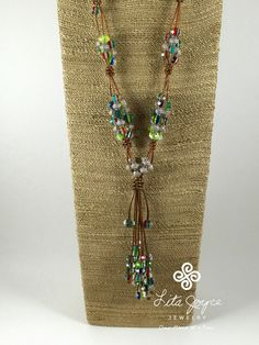 Multi Colored Crystal & Pewter on Bronze by LitaJoyceJewelry