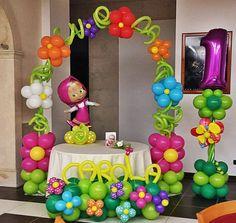 arco, Masha, fiori, compleanno, bimba, particolare