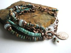 Gemstone Bracelet, Amazonite, Turquoise Howlite, Navajo Turquoise Picasso, Vintage Tile Beads and Czech Glass Beads. $55.00, via Etsy.