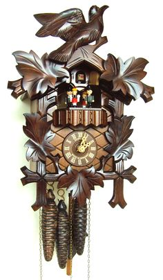 Come dance and smile with the four colorful solid wood dancing figurines on this #Anton #Schneider #Cuckoo #Clock. Watch them perform to two different melodies that sound on the half hour and full hour as the wooden cuckoo chimes in.