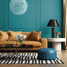 Petrol-Wandfarbe: Cooles, aber elegantes Blaugrün als Innenfarbe - Alpina Farben Blue And Mustard Living Room, Small Lounge Rooms, Living Room Designs, Living Room Decor, Blue Paint Colors, Benjamin Moore Paint, White Area Rug, Cool Walls, Colorful Interiors