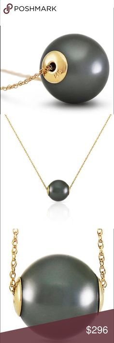 "14K. Gold Necklace with 16.0 mm black Shell Pearl Comes with 18"" long, 1.15 mm thickness double link Rope Chain. Our shell pearls are lab-created from oyster shells to ensure durability and affordability. Item Weight: 7.50 Gram  Item Information Metal: 14K. Solid Gold Metal Weight: 1.70 gr.  Gemstones 1 Round shape, 16.0 mm, Black Shell Pearl = 31.25 ct  Measurements Height: 0.63 in ( 16 mm) Width: 0.65 in ( 16.5 mm) Galaxy Gold  Jewelry Necklaces"