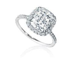 Solitaire avec diamant coussin - Harry Winston