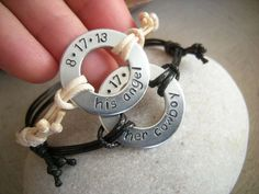 2 Stamped washer bracelets for couples 2 by PawlowskiCreations, $42.70