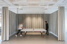 Office Tour: Kjellander Sjöberg Studio – Stockholm Table tennis room surrounded by curtains from Kjellander Sjöberg Studio office in Stockholm Co Working, Office Interiors, Lounge, Home Furnishings, Home Furniture, Interior Design, Interior Architecture, Home Decor, Movie Rooms