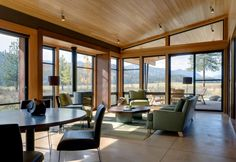 Architecture, Living Room With Glass Window And Wooden Ceiling Contemporary Cabin Design With Grey Sofa Wood Table And Grey Chairs Ideas: The Stunning Wolf Creek View Cabin in Washington Living Room Spotlights, Living Room Lighting, Ceiling Spotlights, House Lighting, Kitchen Lighting, Bathroom Lighting, Modern Cabin Interior, Interior Design Living Room, Modern Cabins