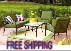 Garden 4 Pcs Patio Dining Set Loveseat Comfortable Cushion Yard Furniture Steel