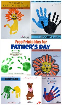 Here are all our free printables for Father's Day in one convenient spot! World's Best Dad Hands Down, My Dad is King of the Grill, and more! Fingerprint Crafts, Footprint Crafts, Father's Day Activities, Holiday Activities, Fathers Day Crafts, Happy Fathers Day, Daddy Day, Handprint Art, Gifted Kids