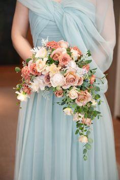 新郎新婦様からのメール 梅雨明けのころ 真珠と翡翠 パークハイアット東京さまへのブーケ : 一会 ウエディングの花
