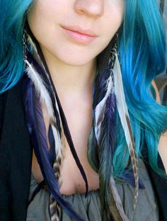 Purple White and Gray Long Feather Earrings with Metal Chain - Natural and Dyed Feathers