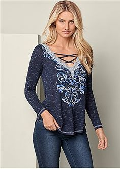 v-neck lace inset print top