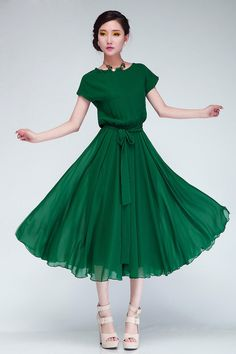 Korean Style Women Pleated Maxi Chic Prom Party Dress Chiffon Women Clothing Vintage Long Summer Casual Dress