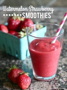 Watermelon Strawberry Smoothies Makes 2-3 servings Ingredients:  2.5 cups watermelon, cut into small 1″ cubes 2 cups fresh or frozen strawberries 1 cup vanilla Greek yogurt 1 teaspoon lemon juice